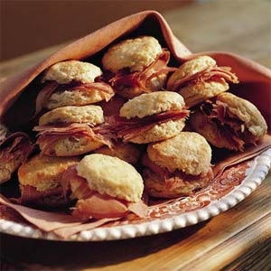 ... is ready lets eat country ham biscuits and biscuits and jam enjoy