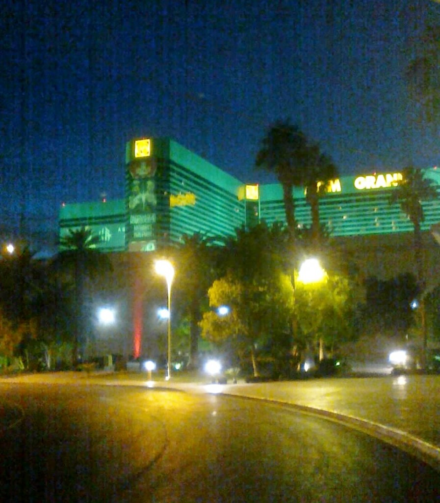 MGM Grand at night.