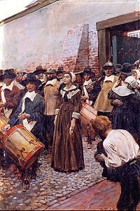 Mary Dyer being led to her execution by Howard Pyle
